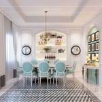 thiết kế nội thất biệt thự song lập phòng ăn