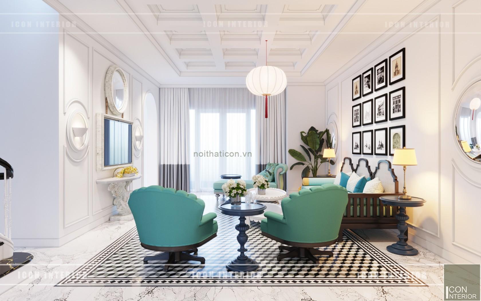 thiết kế nội thất biệt thự song lập phòng khách