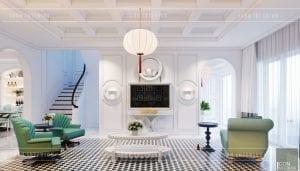 thiết kế nội thất biệt thự song lập - phong cách đông dương
