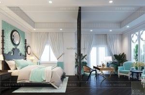 thiết kế nội thất biệt thự song lập - phòng ngủ matser