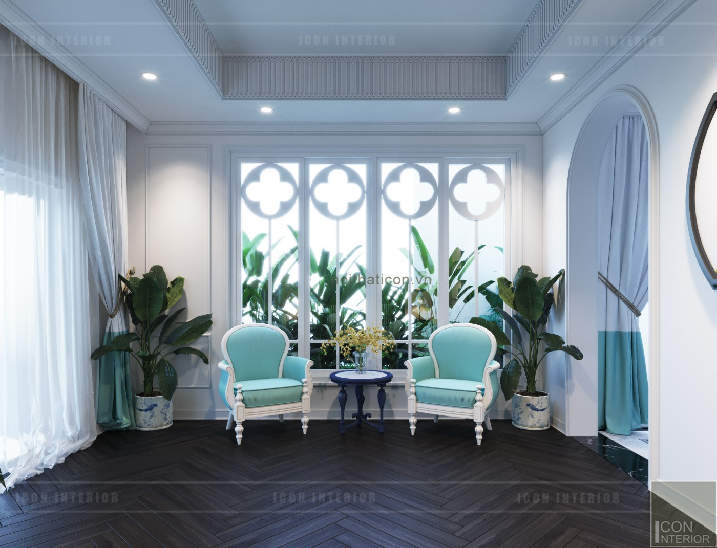 thiết kế nội thất biệt thự song lập phong cách đông dương ghế thư giãn
