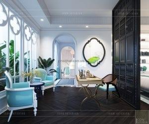 thiết kế nội thất biệt thự song lập phong cách đông dương phòng master