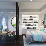 thiết kế nội thất biệt thự song lập phong cách đông dương - phòng master