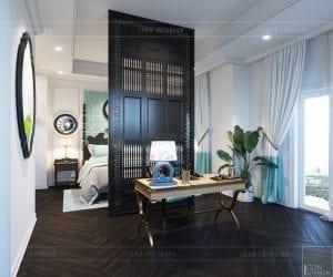 thiết kế nội thất biệt thự song lập phong cách đông dương phòng ngủ master
