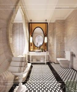 thiết kế nội thất biệt thự song lập phong cách đông dương - phòng tắm