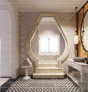 thiết kế nội thất biệt thự song lập phong cách đông dương phòng tắm