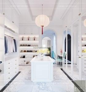 thiết kế nội thất biệt thự song lập phong cách đông dương - phòng thay đồ