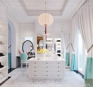 thiết kế nội thất biệt thự song lập phong cách đông dương phòng thay đồ