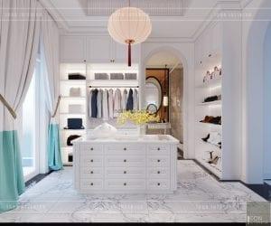 thiết kế nội thất biệt thự song lập - phòng thay đồ