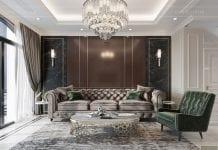 thiết kế biệt thự tân cổ điển phòng khách