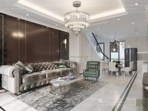 thiết kế biệt thự tân cổ điển - tầng trệt phòng khách