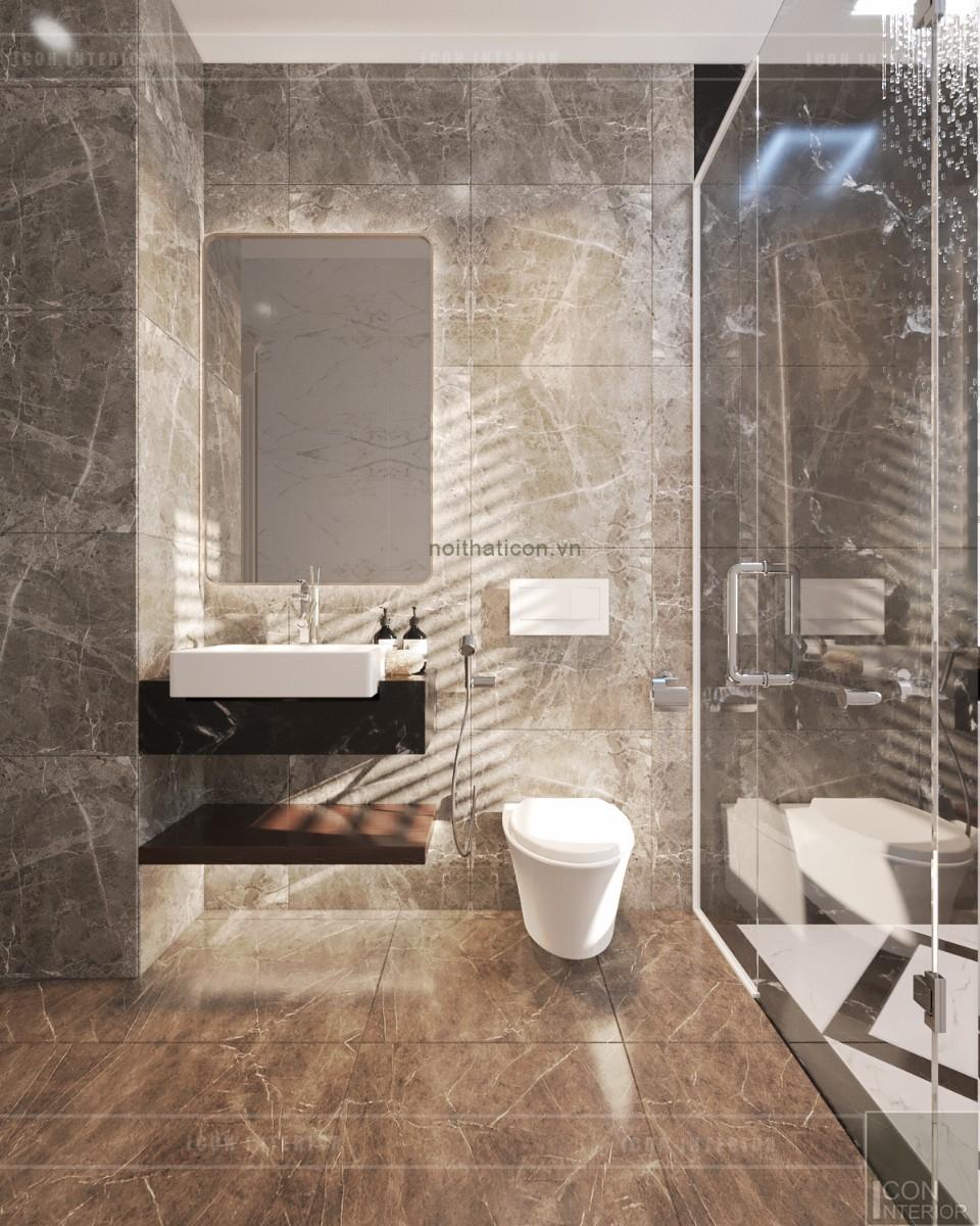 thiết kế biệt thự tân cổ điển tầng 2 phòng tắm
