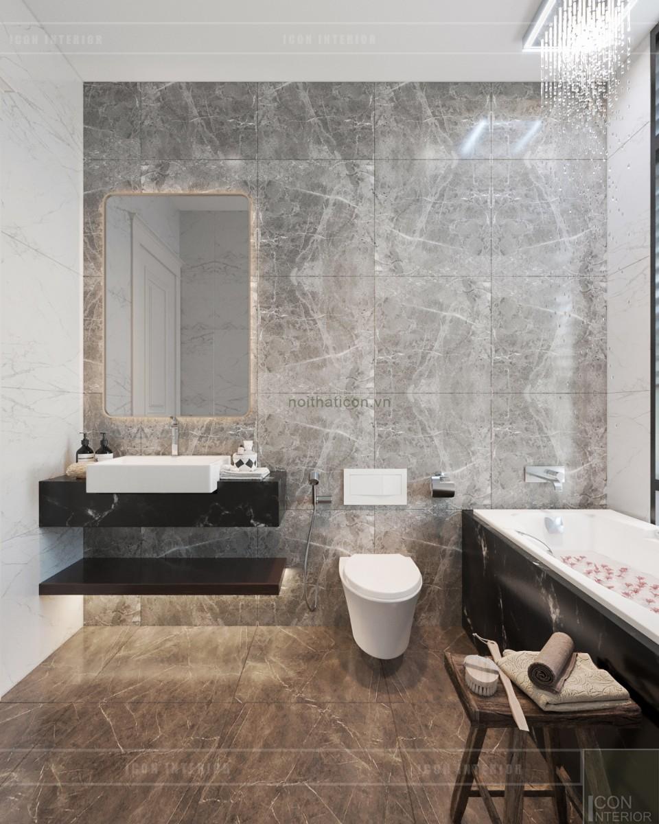 thiết kế biệt thự tân cổ điển phòng tắm tầng 1