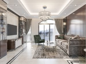 thiết kế biệt thự tân cổ điển - phòng khách