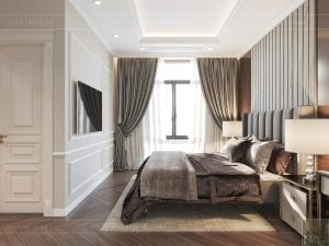 thiết kế biệt thự tân cổ điển - phòng ngủ master