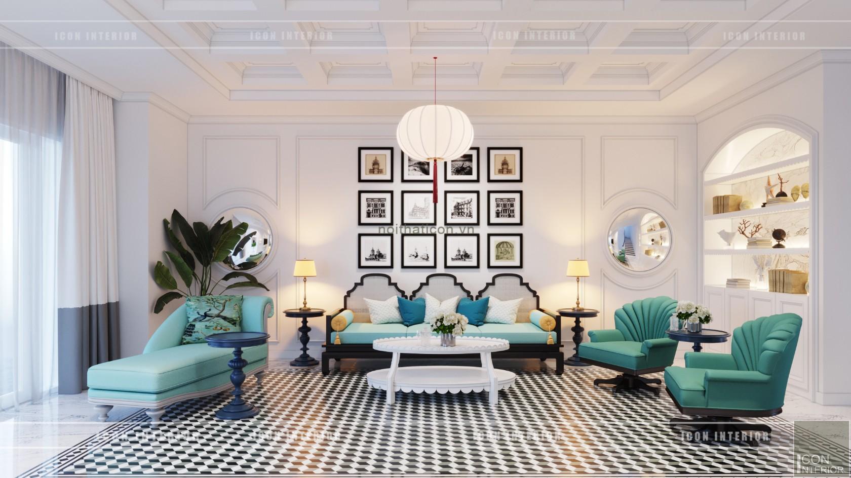 thiết kế nội thất biệt thự song lập - phòng khách