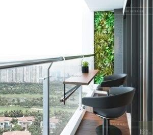 thiết kế nội thất ban công căn hộ millennium