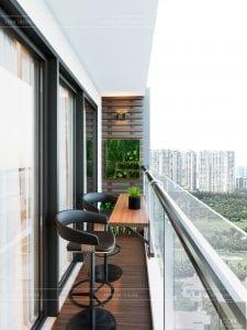 thiết kế nội thất căn hộ millennium - ban công