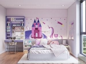 thiết kế nội thất căn hộ millennium - phòng ngủ bé gái
