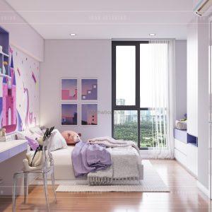 thiết kế nội thất căn hộ millennium - phòng bé gái
