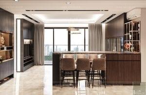 thiết kế nội thất căn hộ millennium - quầy bar
