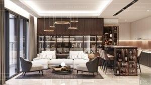 thiết kế nội thất căn hộ millennium - phòng khách