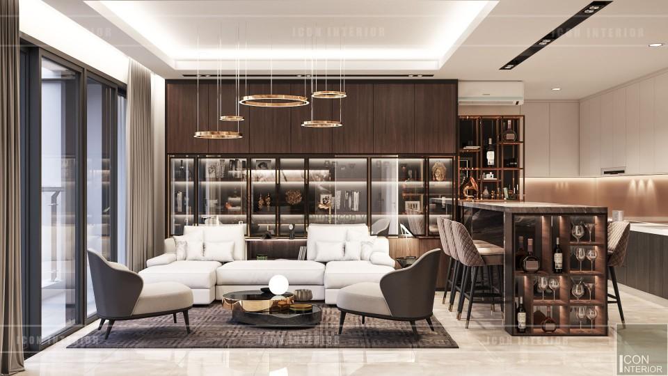 thiết kế nội thất căn hộ millenium - phòng khách