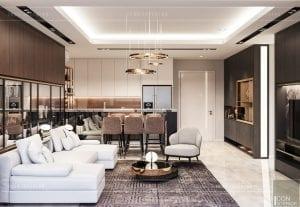 thiết kế nội thất căn hộ millennium phòng khách bếp