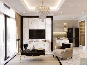 thiết kế nội thất căn hộ landmark 4 - phòng khách bếp 3