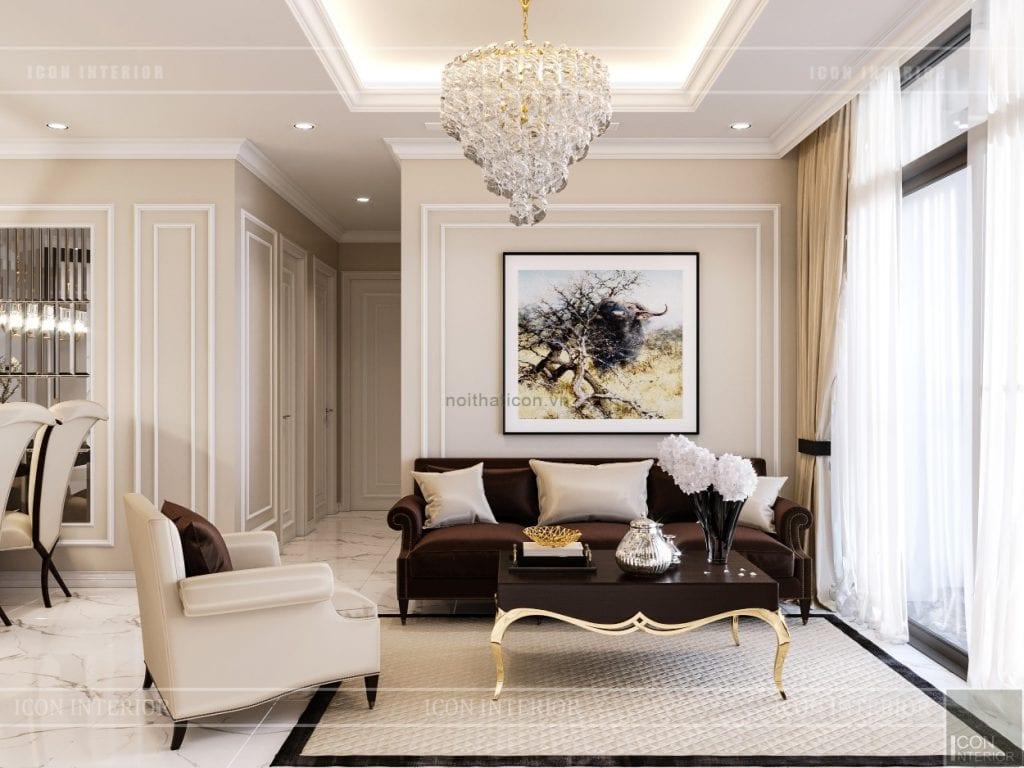 thiết kế nội thất căn hộ landmark 4 - phòng khách bếp 4