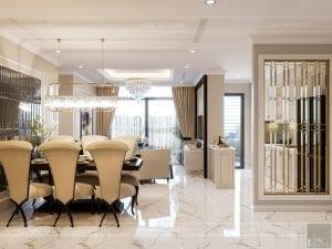 thiết kế nội thất căn hộ landmark 4 - phòng khách bếp 1