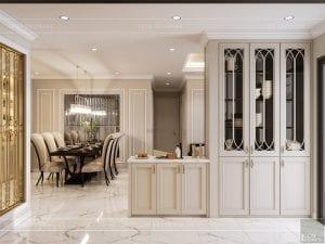 thiết kế nội thất căn hộ landmark 4 - phòng khách bếp 5