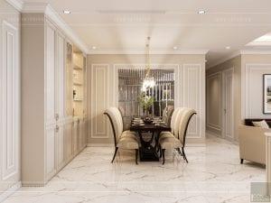 thiết kế nội thất căn hộ landmark 4 - phòng khách bếp 7