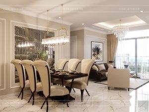 thiết kế nội thất căn hộ landmark 4 - phòng khách bếp 2