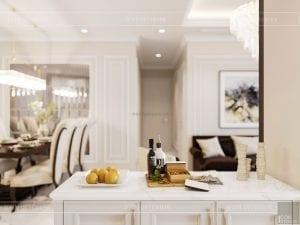 thiết kế nội thất căn hộ landmark 4 - phòng khách bếp 6