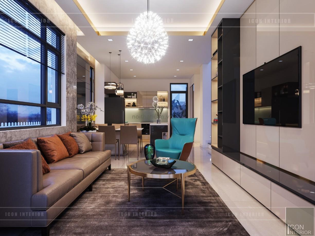 phong cách hiện đại trong thiết kế nội thất phòng khách bếp