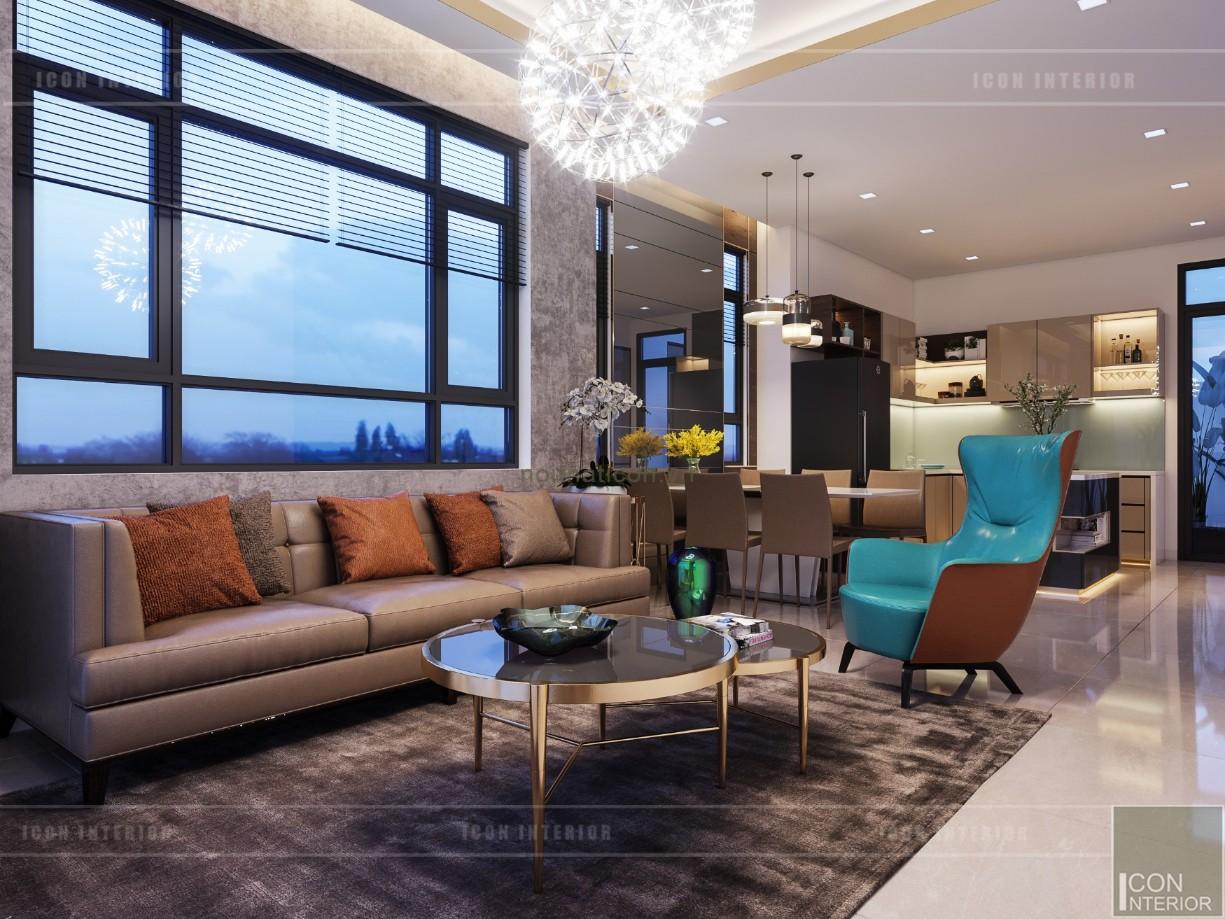 phong cách hiện đại trong thiết kế nội thất - phòng khách bếp