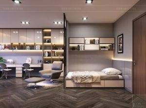 thiết kế nội thất nhà phố - phòng ngủ tầng 2