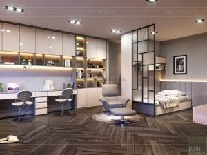 thiết kế nội thất nhà phố - tầng 2 phòng ngủ