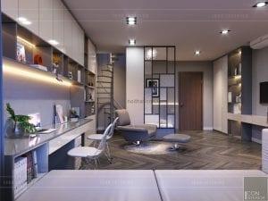 thiết kế nội thất nhà phố - tầng 2 phòng đa năng