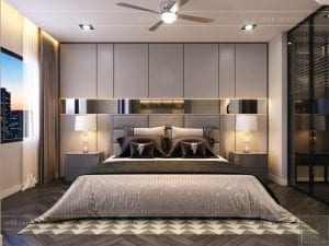 thiết kế nội thất nhà phố - tầng 1 phòng ngủ master