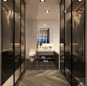 thiết kế nội thất nhà phố - tầng 1 phòng tắm