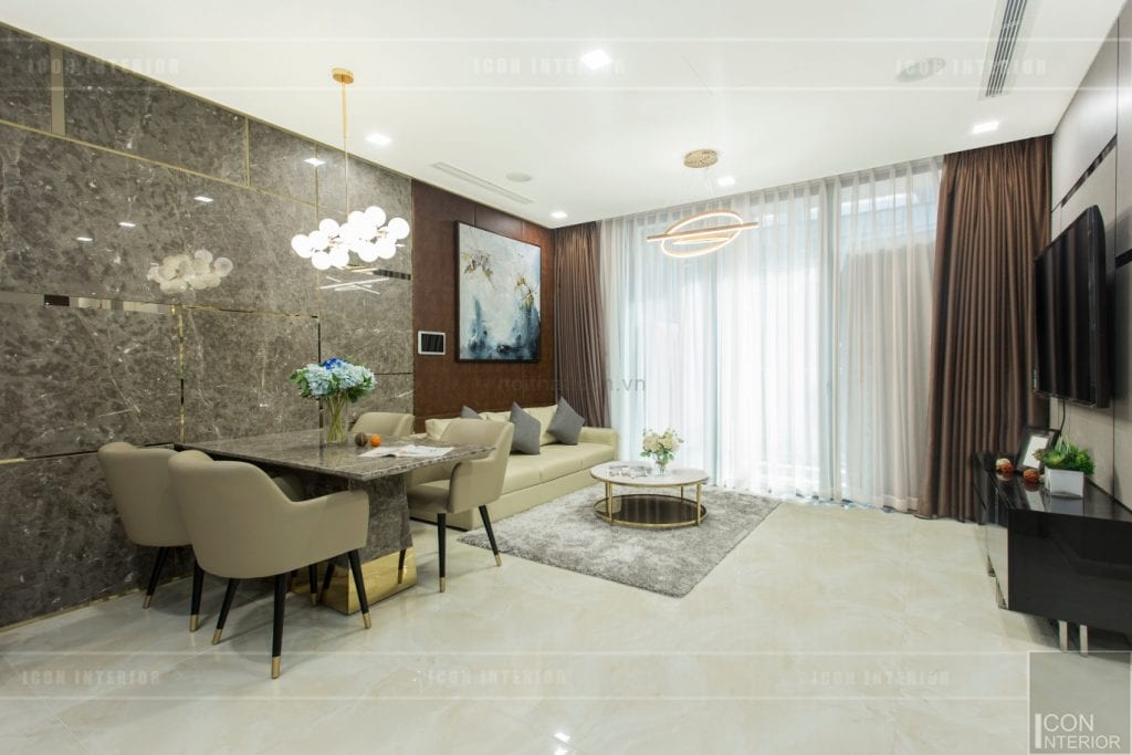 thi công nội thất chung cư hiện đại - phòng khách bếp 1