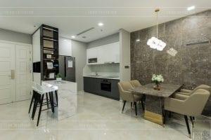 thi công nội thất chung cư hiện đại - phòng khách bếp 10