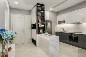 thi công nội thất chung cư hiện đại - phòng khách bếp 13