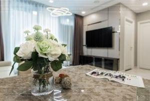 thi công nội thất chung cư hiện đại - phòng khách bếp 14