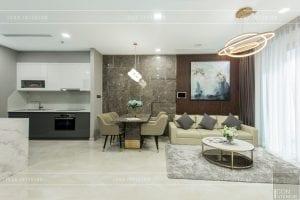 thi công nội thất chung cư hiện đại - phòng khách bếp 2