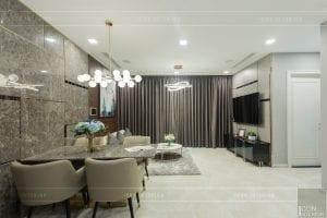 thi công nội thất chung cư hiện đại - phòng khách bếp 3