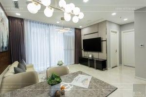 thi công nội thất chung cư hiện đại - phòng khách bếp 4