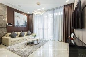 thi công nội thất chung cư hiện đại - phòng khách bếp 5